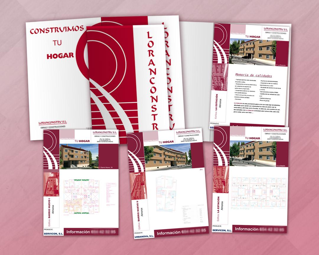 Carpeta y hojas de información para promoción inmobiliaria