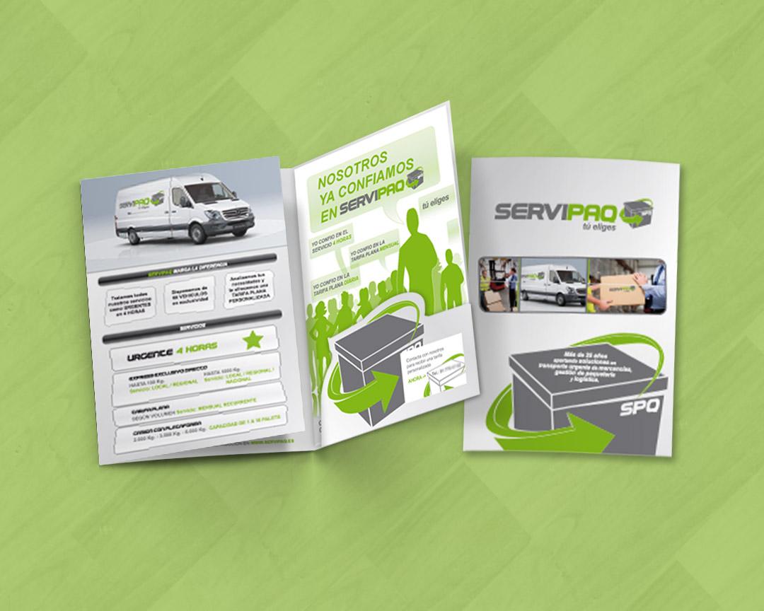 Diseño de catálogo tipo tríptico para SERVIPAQ, empresa de transporte