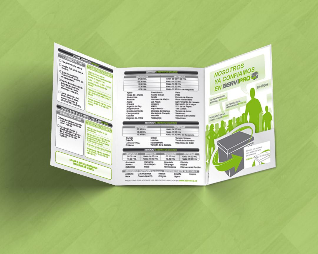 Interior de catálogo tipo tríptico para SERVIPAQ, empresa de transporte
