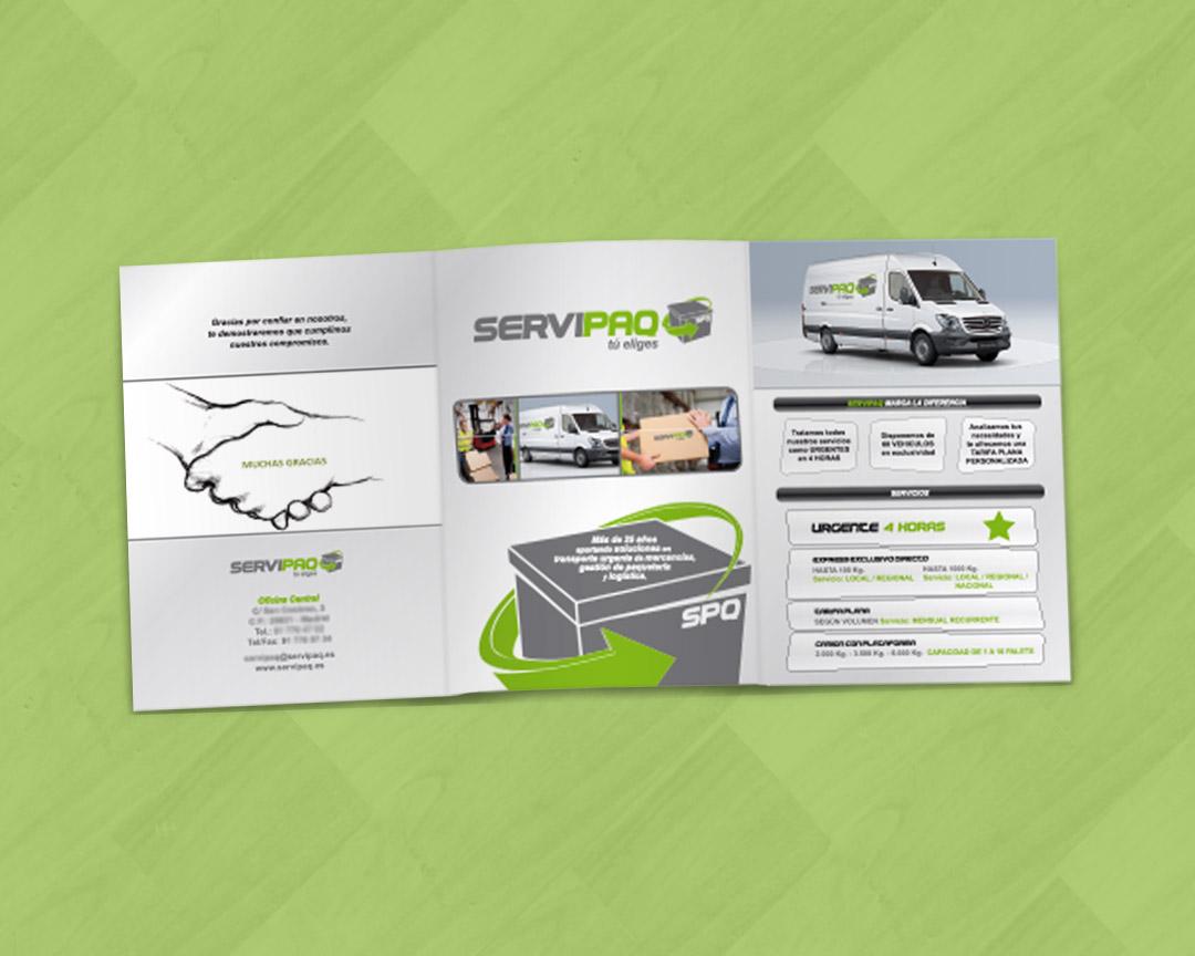 Exterior de catálogo tipo tríptico para SERVIPAQ, empresa de transporte