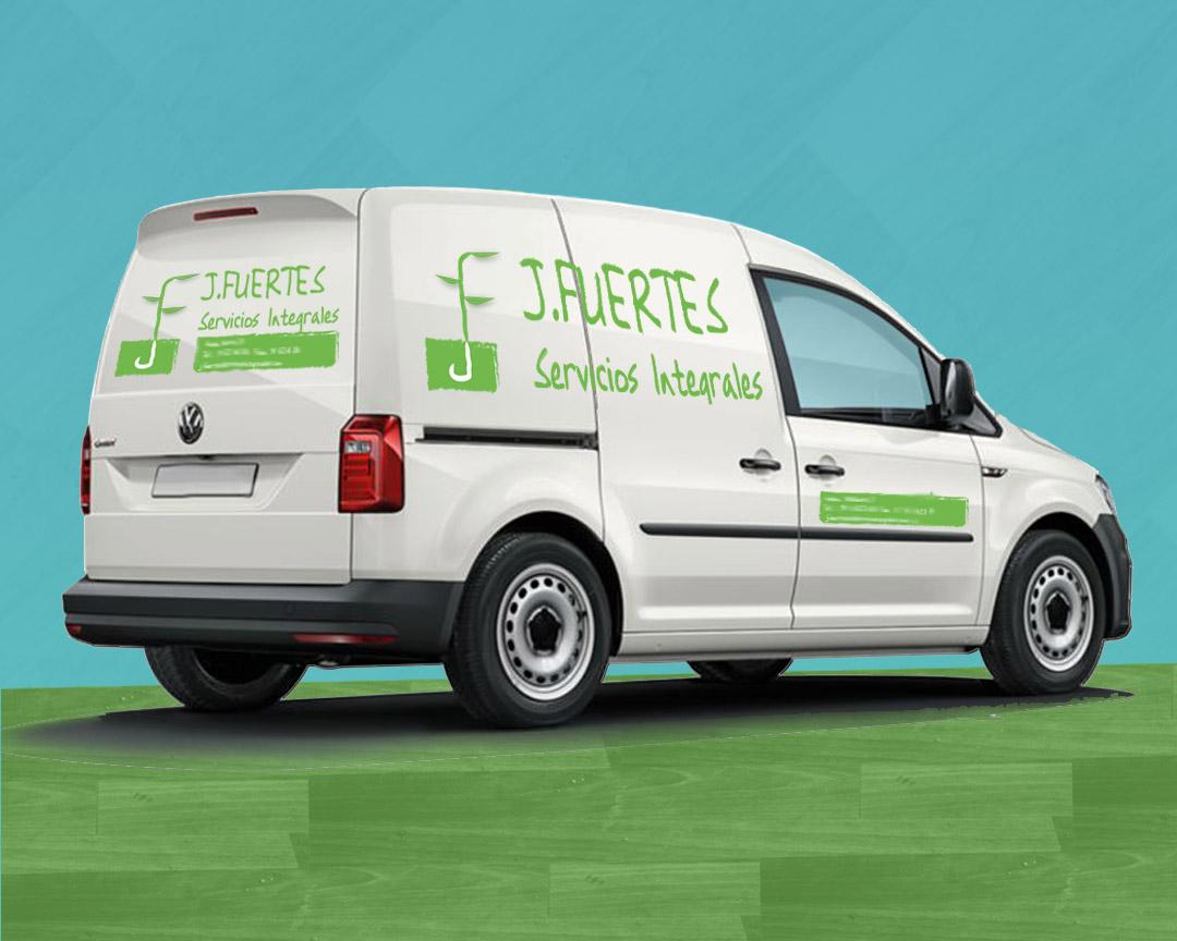 Rotulación e vehículo empresa de jardineria J.Fuertes