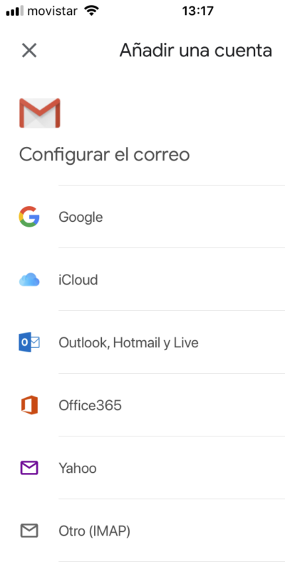 Configurar el correo elige Otro (IMAP)