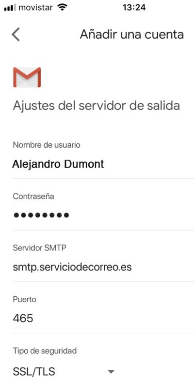 Configuración correo saliente