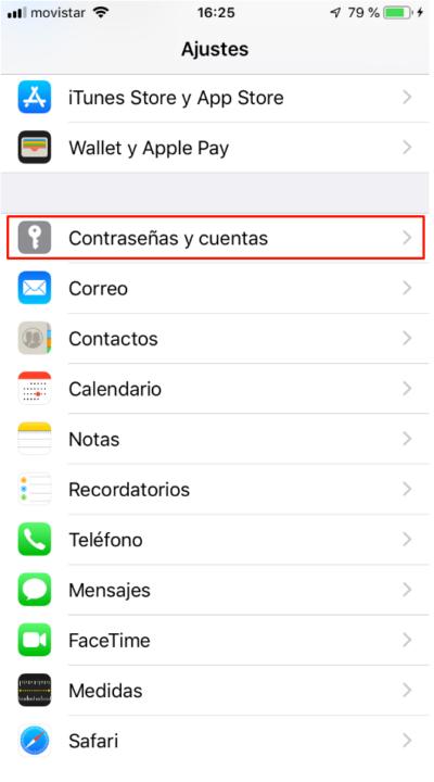Ajustes / Contraseñas y cuentas en iPhone o iPad