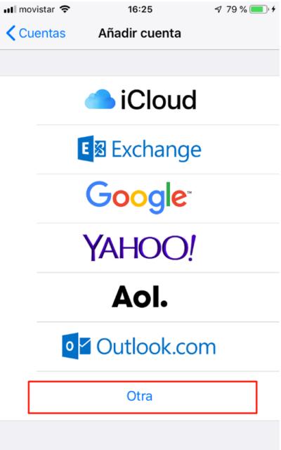 tipo de cuenta de correo: otra. iPhone o iPad