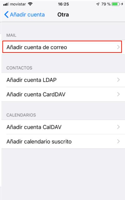 Añadir cuenta de correo iPhone o iPad