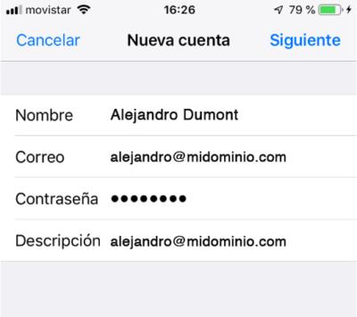 Datos nueva cuenta de correo en iPhone o iPad