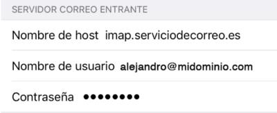 Datos de configuración IMAP iPhone o iPad